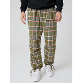 Mens Cotton Plaid Multi Pocket Casual Drawstring Elastic Waist Jogger Pants