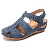 LOSTISY Stitching Hollow Out Hook Loop Light Wedge Sandals