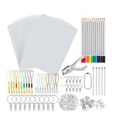 198 Pcs / 145 Pcs / 33 Pcs DIY Thermorétractable Feuille En Plastique Kit Shrinky Art Papier Trou Poinçon Porte-clés Crayons