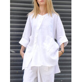 Women Solid Color Stand Collar 3/4 Sleeve High Low Hem Blouses With Pocket
