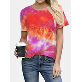 Tie-dye Print Ronde hals Korte mouw Losse casual T-shirts Dames