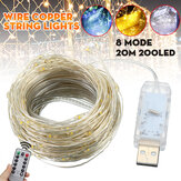 20M 200LED String Lights USB Waterproof Copper Wire Fairy Lamp Wedding Outdoor Garden Home Christmas Decorations Clearance Christmas Lights