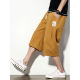 Mens 95% Cotton Linen 4 Color Ethnic Calf-Length Casual Loose Shorts