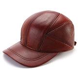 Collrown Męskie zimowe ciepłe czapki z daszkiem z prawdziwej skóry nauszniki nauszniki wiatroodporne czapki typu trucker