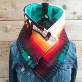 Женский универсальный контрастный цвет, толстый шарф в полоску с геометрическим принтом, элегантный регулируемый Шея, теплый шарф с запах