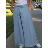 Women Solid Color Elastic Waist Cotton Casual Loose Wide Leg Pants