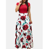 Print Patchwork O-neck Short Sleeve Maxi Dress For Women
