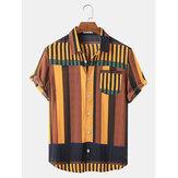 Banggood Thiết kế Mens Colorful Sọc túi thoáng khí Áo sơ mi ngắn tay giản dị