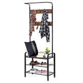 DouxLife® DL-CS01 3in1 Design Coat Rack Shoe Stool With Metal Frame for Home Entry Storage Industrial Style Furniture Supplies