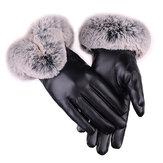 Zimowe, zimowe, ciepłe, grubie skórzane rękawiczki narciarskie z futra królika