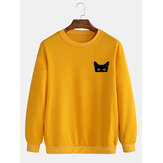 Simple Cartoon Cat Print Round Neck Cotton Pullover Long Sleeve Sweatshirts