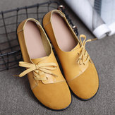 Plus size Women Lace Up Leather Flats Soft Casual Shoes