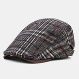 Collrown Erkekler Classic Casual Outdoor Plaid Stripe Desen Patchwork Bere Şapka Forward Şapka