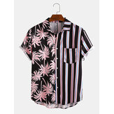 Banggood Design Men Coconut Tree Colorful Camicie casual per le vacanze a maniche corte con stampa mista a strisce