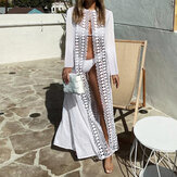 Long Sleeve Open Front Hollow Out Holiday Summer Maxi Cardigans