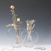 Crystal Glass Iron Test Tube Vase in Wooden Stand Flower Pots Plant