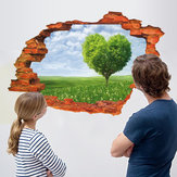 Miico Kreative 3D Love Tree Scenery Gebrochene Wand Removable Home Zimmer Dekorative Wand-Dekor-Aufkleber