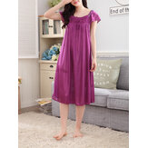 Women Solid Color Short Sleeve Smooth Home Nightgown