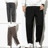 Corduroy men Casual Harem Pants Corduroy Baggy Long Pants Elastic Waist Pants Trousers