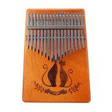 17 tasti in mogano Kalimba impiallacciatura Mini tastiera per pianoforte a tastiera strumento intagliato a toni