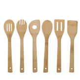 6Pcs Wooden Spoon Utensil Set Kitchen Cooking Bamboo Tools Wood Spatula Kit