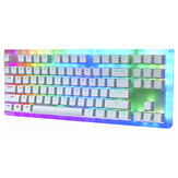 GamaKay K87 87 Tombol Keyboard Gaming Mekanik Hot Swappable Type-C Kabel USB 3.1 Tembus Dasar Kaca Gateron Switch ABS Dua-warna Keycap Keyboard Gaming RGB