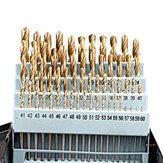 60pcs forets hélicoïdaux individuels ensemble de forets à tige ronde revêtement en titane HSS changement rapide