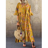 Half Sleeve O-neck Pleated Floral Print Vintage Maxi Dress