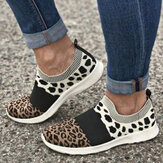 Women Large Size Mesh Breathable Leopard Pattern Elastic Band Slip On Sneakers