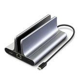 Vaydeer 6 in 1 USB Hub Docking Station Vertical Laptop Stand with 4K HD Output USB Ports Gigabit Ethernet For Laptop Notebook