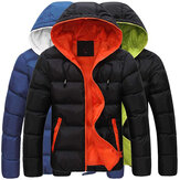 Mens Winter Thermal Contrast Color Outdoor Warm Hooded Padded Jacket