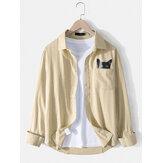 メンズコットンリネンピンストライプキャットプリントカジュアル胸ポケット長袖シャツ