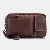 Bullcaptain Echtleder Vintage Multifunktionale Taillentasche Telefontasche Business-Tasche für Männer