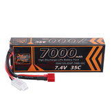 ZOP Power 7.4V 7000mAh 35C 2S2P Lipo Battery T Plug for RC Car RC Airplane