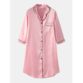 Women Ice Silk Chest Pocket 3/4 Sleeve Shirt Cozy Nightdress With Contrast Binding