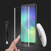 BakeeyUVSoportecompletodepegamento Ultrasónico Protector de pantalla de cristal templado para huellas dactilares para Samsung Galaxy S10 Plus Película de borde curvo 3D