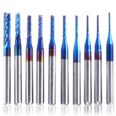 10 stks 0.8-3mm Blauw Nano Coating Graveren Frees Carbide Frees CNC Frezen 1/8 Inch Schacht