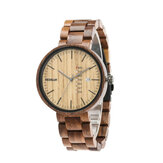 REDEAR SJ1488 Fashion Men Wooden Watch Date Week Display Wooden Strap Quartz Watch