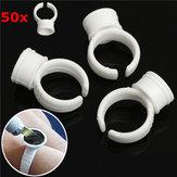 50pcs pigmento branco titulares anéis anel titular cola de tinta