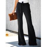 Pantalones acampanados de cintura alta negros casuales de color sólido para mujer