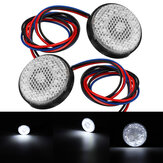 2Pcs White Rear Tail Brake Stop Light Lamp LED Round Reflector For Car Motorcycle