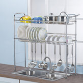 2 Tiers Stainless Steel Dishes Rack Dual Sink Drain Rack Adjustable Multi-use Kitchen Organizer Rack Dish Shelf Sink Drying Rack