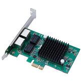 Carte réseau PCI Express DIEWU TXA020-pcie-82575-1X PCI Express Dual Port Gigabit Server Intel 82575 10/100 / 1000Mbps PCI-E X1 X4 X16 Carte adaptateur réseau LAN pour PC de bureau