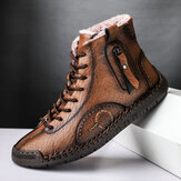 Men Hand Stitching Microfiber Leather Warm Plush Lining Soft Ankle Boots