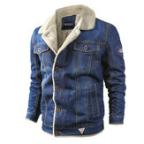 Herren dicke warme Fleece Umlegekragen Winter Jeansjacke