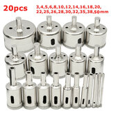 20Pcs Diamant Coated Boor Boor Bit Set 3-50mm Hoeszaag Cutter voor Glas Marmer Graniet
