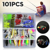 ZANLURE 101Pcs pesca Lure Spinners Plugs Spoons Soft Bait Pike Trout Salmon + Box Set