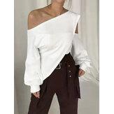 女性のためのシックなカジュアルな緩い冷たい肩不規則な裾無地ブラウス