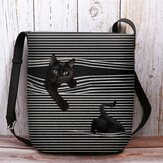Women Felt Stripe Pattern Three-dimensional Vision Cat Print Shoulder Bag Crossbody Bag