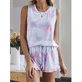 Tie Dye Dames Colorful Gradient Mouwloos Trekkoord Ruches Los Pyjama Set